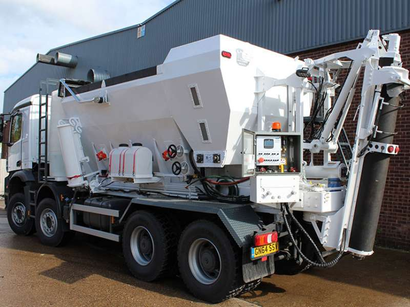 A volumetric concrete mixer truck