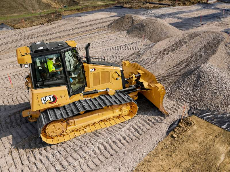 The new Cat D4 dozer features a lower sloping hood line that provides improved visibility