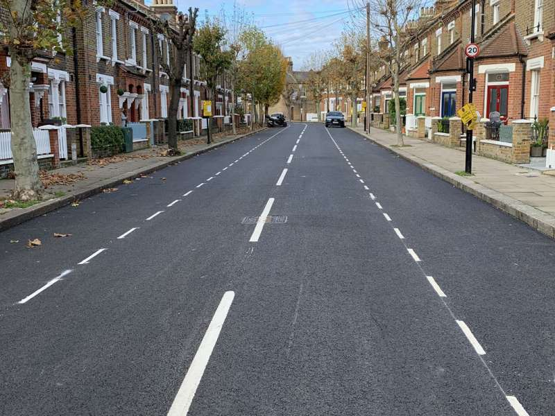 Resurfaced road in Westminster