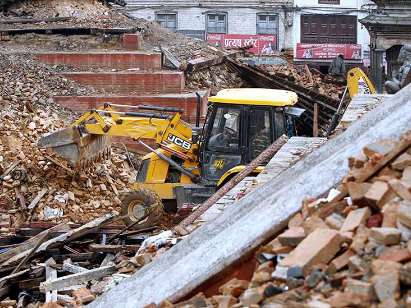 JCB backhoe loader in earthquake-hit Nepal