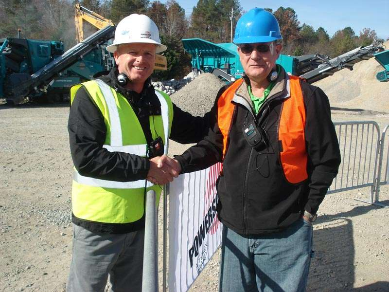 Ian Williamson, sales manager, Powerscreen Mid-Atlantic with a customer