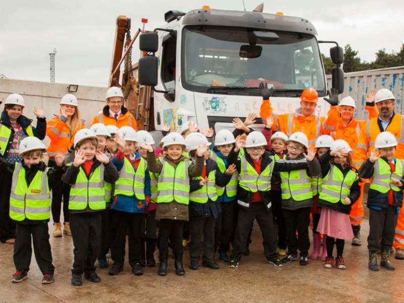 Schoolchildren visit recycling centre