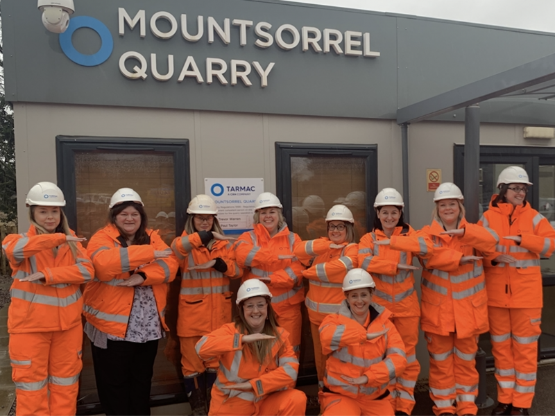Female employees at Mountsorrel Quarry marking International Women's Day
