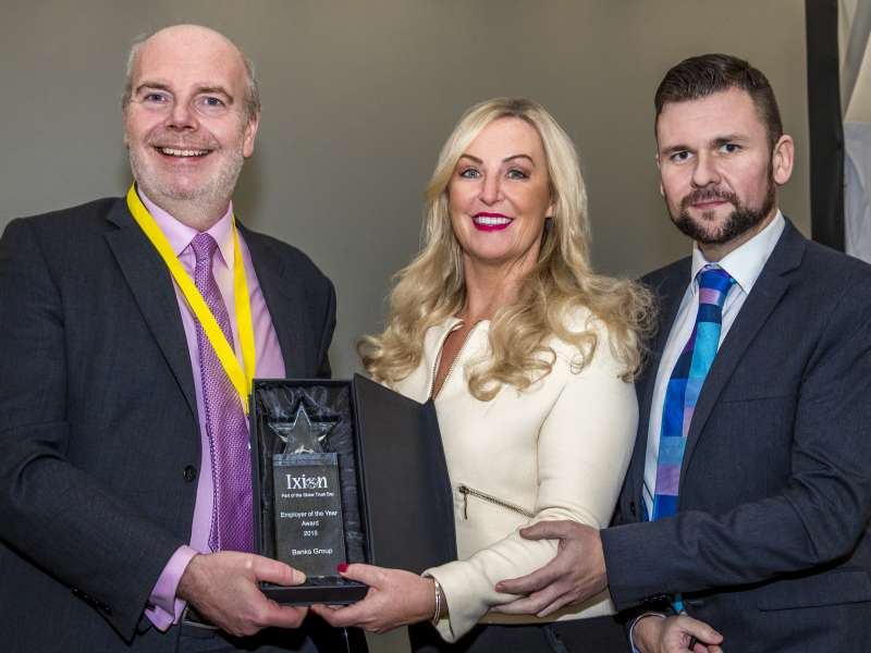 L-R: Shaw Trust chief executive officer Nick Bell with Banks Group HR director Lou Lightfoot and training co-ordinator Lewis Cowey