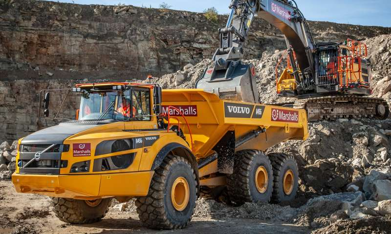 Volvo A45G dumptruck and EC480E excavator