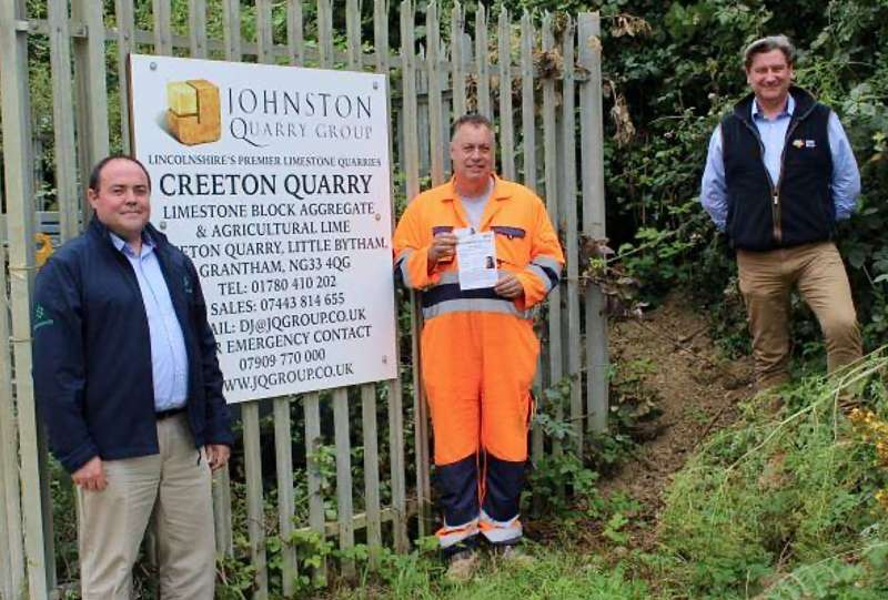 Steve Johnson of Johnston Quarry Group receiving the first OCA