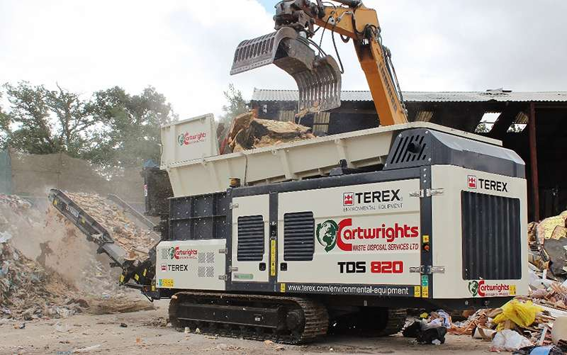 Terex TDS 820 twin-shaft shredder