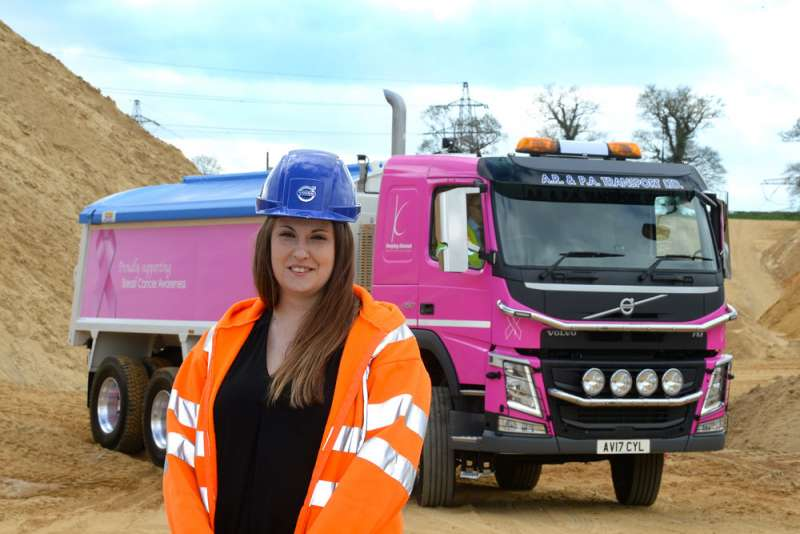 April Forder with Volvo tipper truck