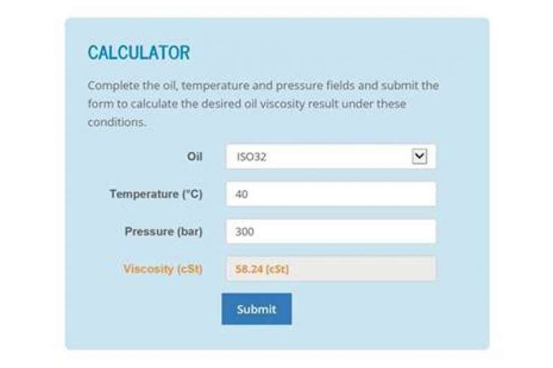 Hydraulic oil viscosity calculator app